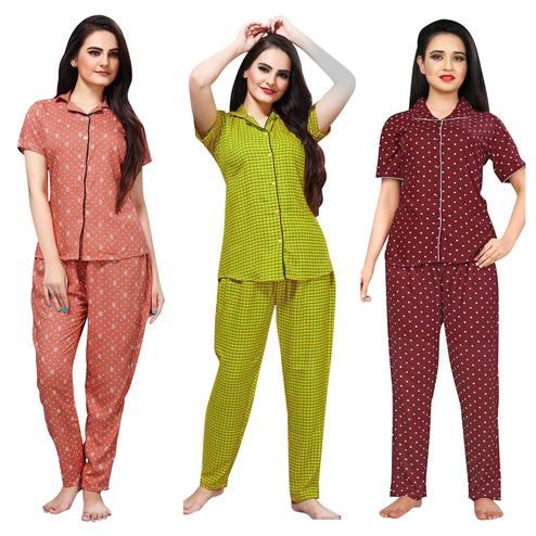 Charming Printed Cotton Rayon Night Suit Pack Of 3