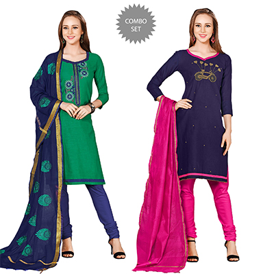Adorable Embroidered Chanderi Cotton Dress Materials - Pack of 2