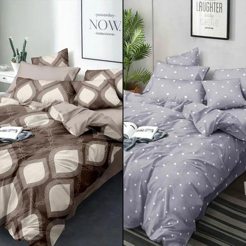 Unique Printed Bed Sheets With 2 Pillow Covers - Pack of 2