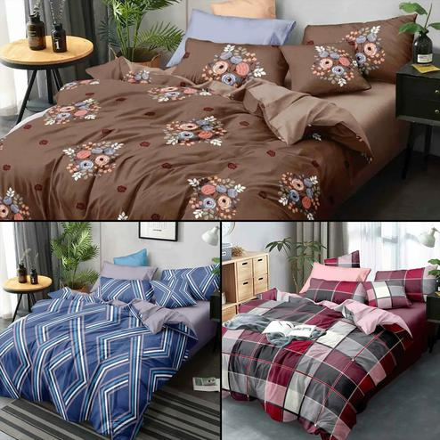 Magnetic Printed Double Bed Sheets With 2 Pillow Covers - Pack of 3