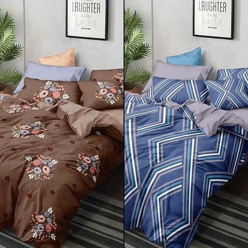 Hypnotic Printed Double Bed Sheets With 2 Pillow Covers - Pack of 2