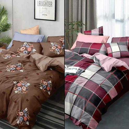 Flattering Printed Double Bed Sheets With 2 Pillow Covers - Pack of 2