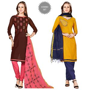 Delightful Embroidered Chanderi Cotton Dress Materials - Pack of 2