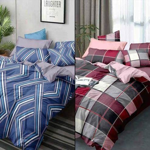 Excellent Printed Double Bed Sheets With 2 Pillow Covers - Pack of 2
