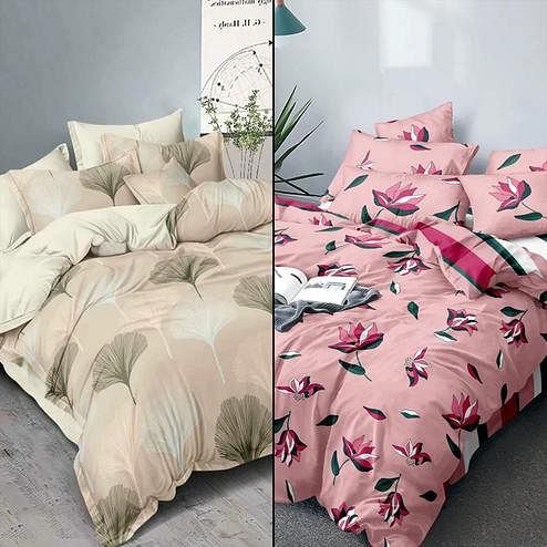 Pretty Printed Double Bed Sheets With 2 Pillow Covers - Pack of 2