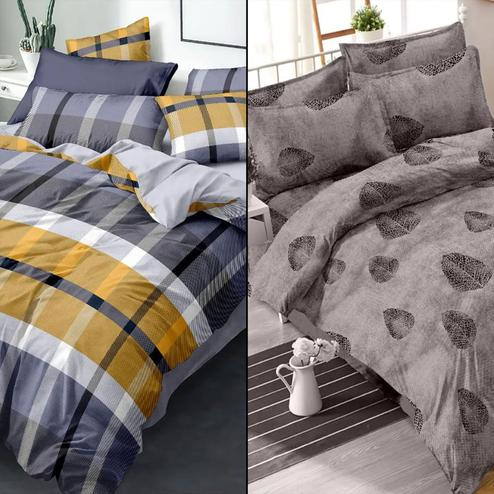 Sensational Printed Double Bed Sheets With 2 Pillow Covers - Pack of 2