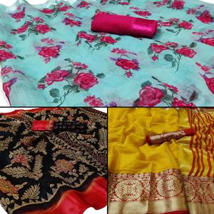 Classy Casual - Festive Wear Printed Saree Pack Of 3