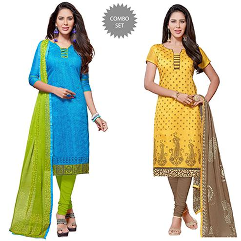 Dazzling Printed Chanderi Dress Materials - Pack of 2