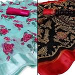 Prominent Casual - Festive Wear Printed Saree Pack Of 2