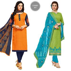 Graceful Embroidered Chanderi Dress Materials - Pack of 2