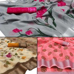 Graceful Casual - Festive Wear Printed Saree Pack Of 3