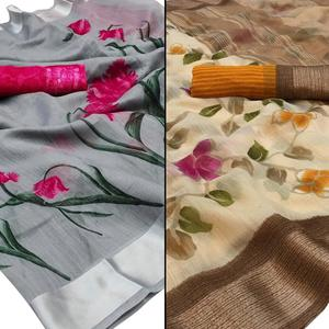 Blooming Casual - Festive Wear Printed Saree Pack Of 2