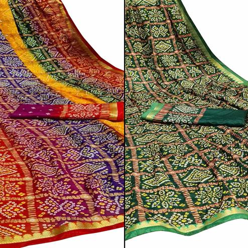 Captivating Festive Wear Woven Saree Pack Of 2