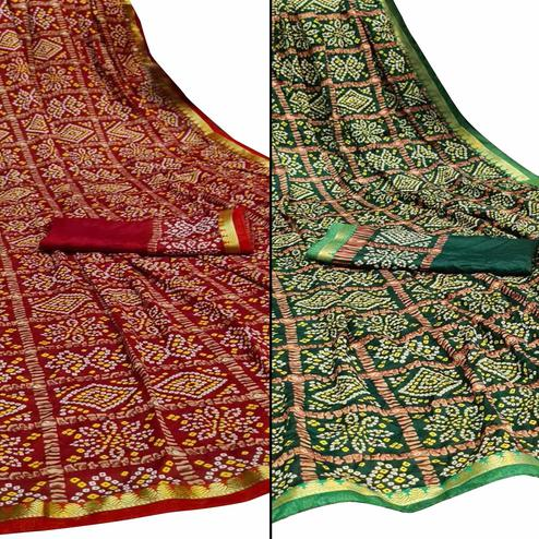 Innovative Festive Wear Woven Saree Pack Of 2