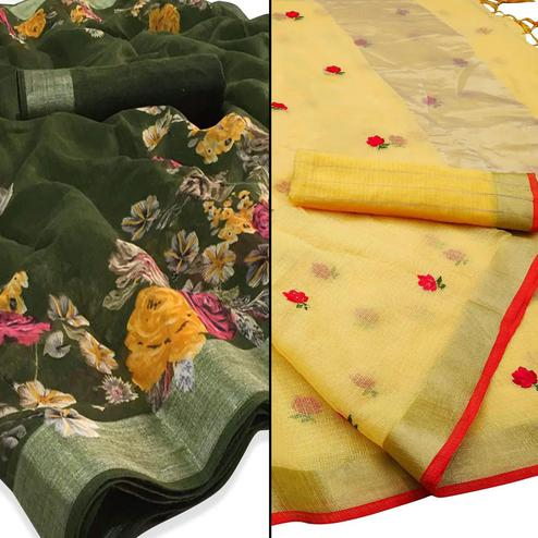 Amazing Casual - Party Wear Printed Saree Pack Of 2