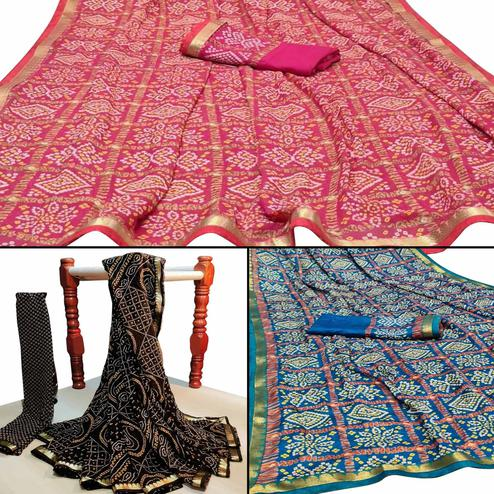 Blissful Festive Wear Woven Saree Pack Of 3
