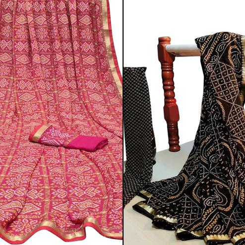 Ideal Festive Wear Woven Saree Pack Of 2