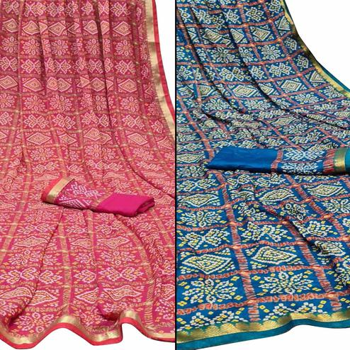 Imposing Festive Wear Woven Saree Pack Of 2