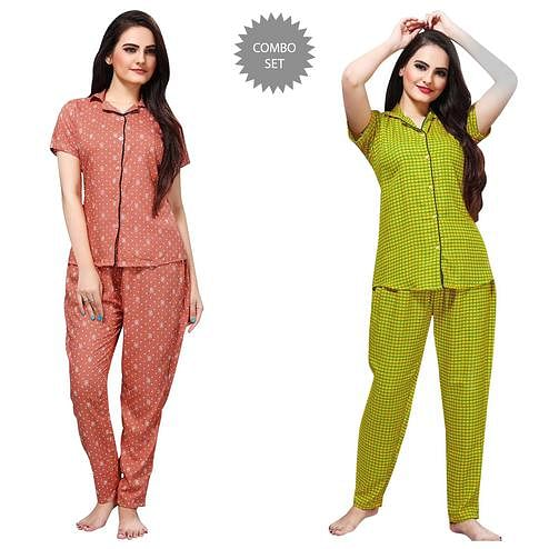 Jazzy Printed Cotton Rayon Night Suit Pack Of 2