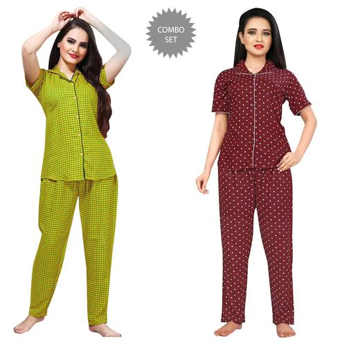 Engrossing Printed Cotton Rayon Night Suit Pack Of 2
