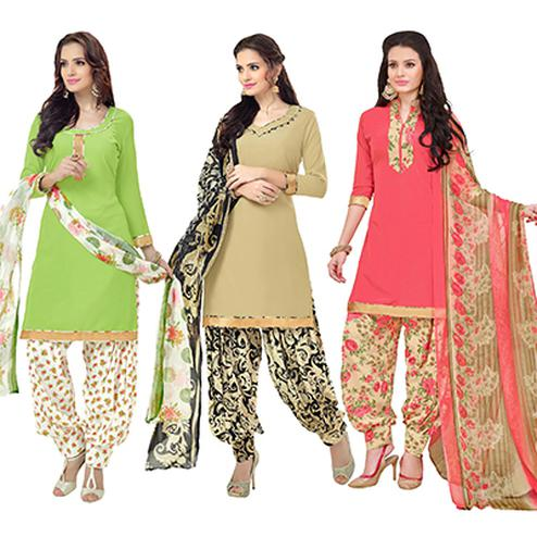 Trendy Embroidered Chanderi Cotton Dress Materials - Pack of 3