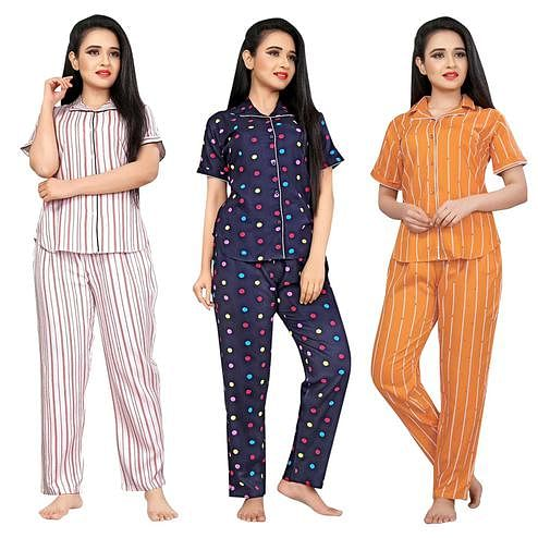 Captivating Printed Cotton Rayon Night Suit Pack Of 3
