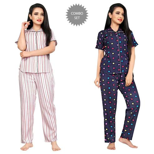 Innovative Printed Cotton Rayon Night Suit Pack Of 2