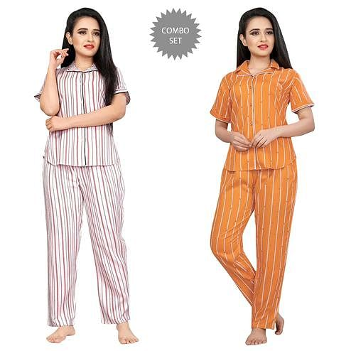 Eye-catching Printed Cotton Rayon Night Suit Pack Of 2