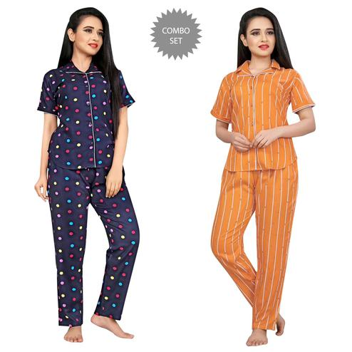 Fantastic Printed Cotton Rayon Night Suit Pack Of 2