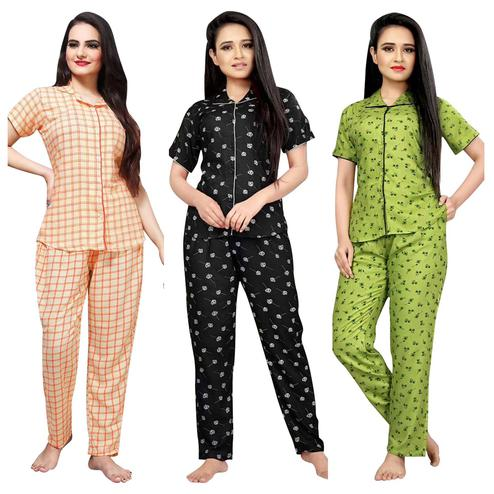 Amazing Printed Cotton Rayon Night Suit Pack Of 3