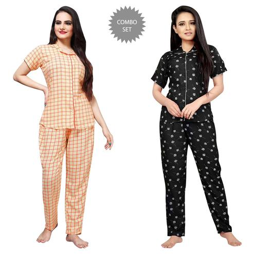 Gorgeous Printed Cotton Rayon Night Suit Pack Of 2