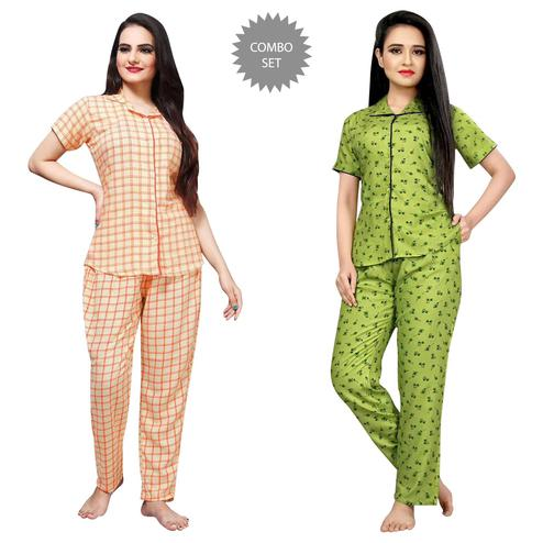 Blissful Printed Cotton Rayon Night Suit Pack Of 2
