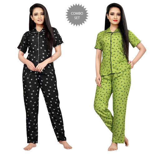 Ideal Printed Cotton Rayon Night Suit Pack Of 2