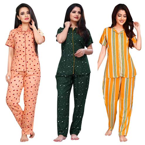 Imposing Printed Cotton Rayon Night Suit Pack Of 3