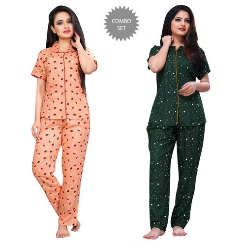 Lovely Printed Cotton Rayon Night Suit Pack Of 2