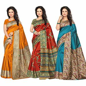 Beautiful Festive Wear Kalamkari Printed Bhagalpuri Silk Sarees - Pack Of 3