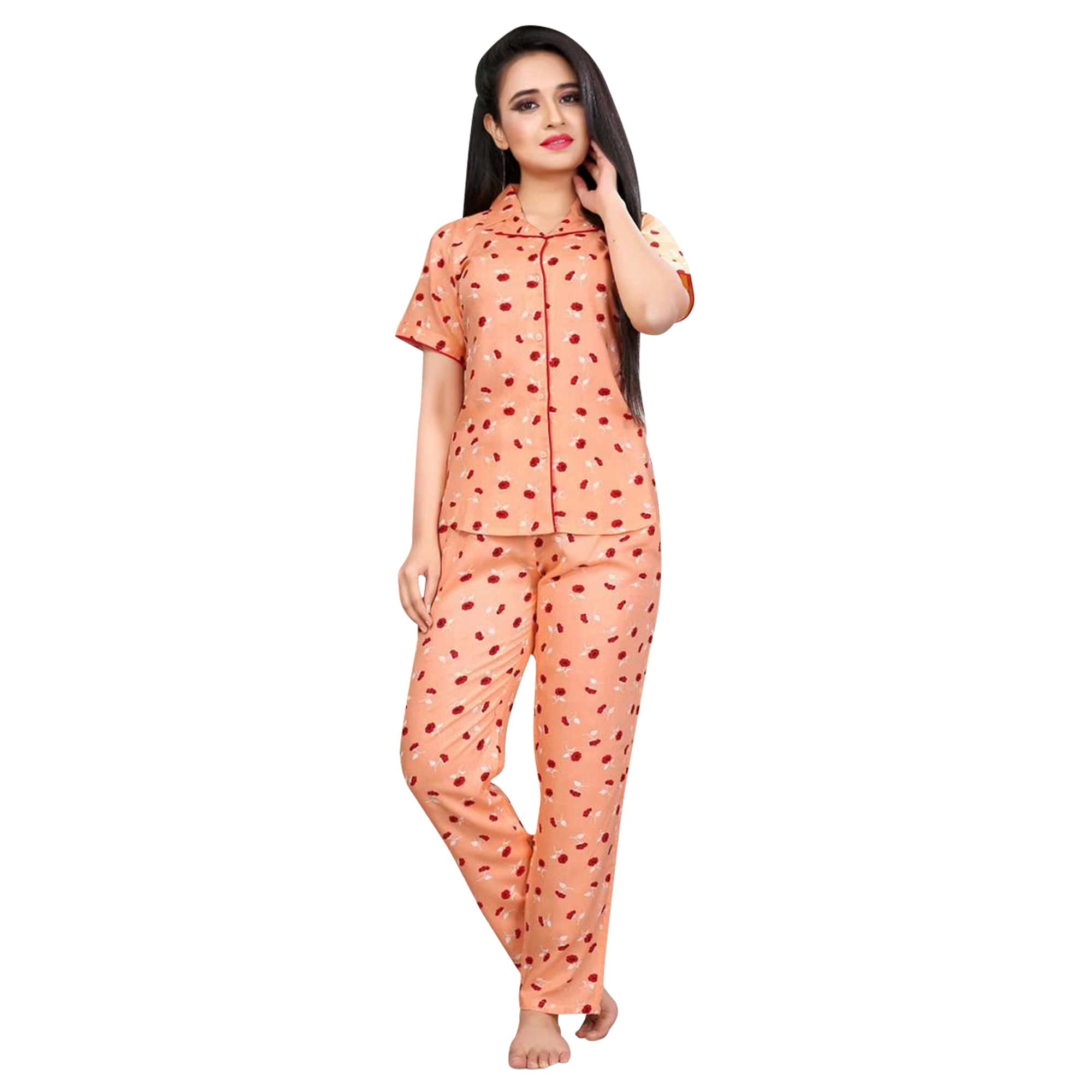 Majesty Printed Cotton Rayon Night Suit Pack Of 2
