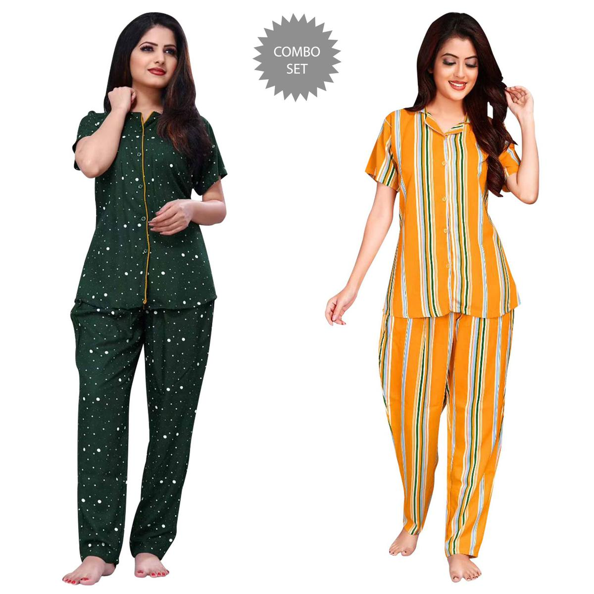 Impressive Printed Cotton Rayon Night Suit Pack Of 2