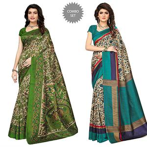Lovely Festive Wear Kalamkari Printed Bhagalpuri Silk Sarees - Pack Of 2