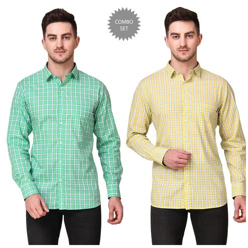 DELEXO - Green Yellow Colored Men Regular Fit Checkered Spread Collar Casual Shirt- Pack of 2