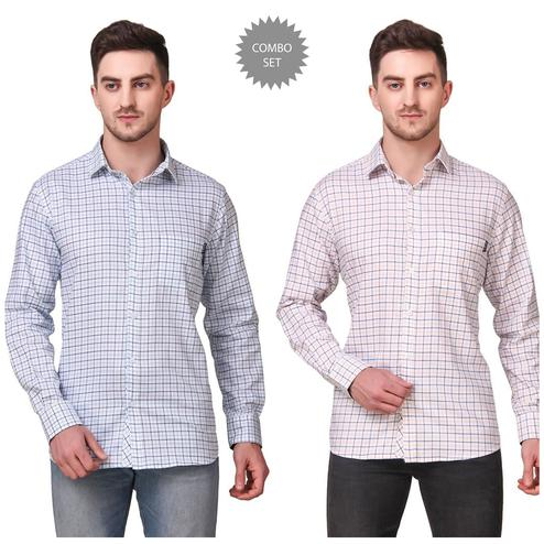 DELEXO - Blue Colored Men Regular Fit Checkered Spread Collar Casual Shirt - Pack of 2
