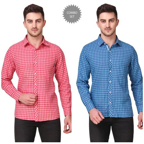 DELEXO - Maroon Blue Colored Men Regular Fit Checkered Spread Collar Casual Shirt- Pack of 2