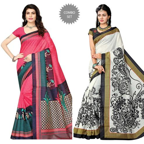 Glorious Pink - White Colored Festive Wear Printed Art Silk Saree Pack of 2