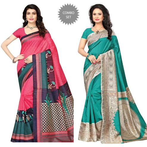 Attractive Pink - Turquoise Colored Festive Wear Printed Art Silk Saree Pack of 2