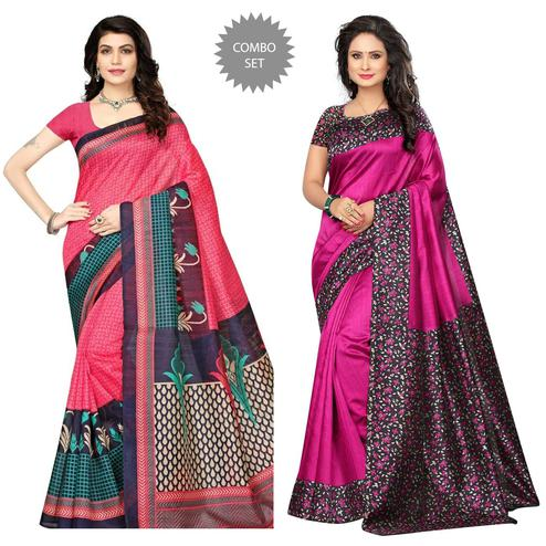 Blooming Pink Colored Festive Wear Printed Art Silk Saree Pack of 2