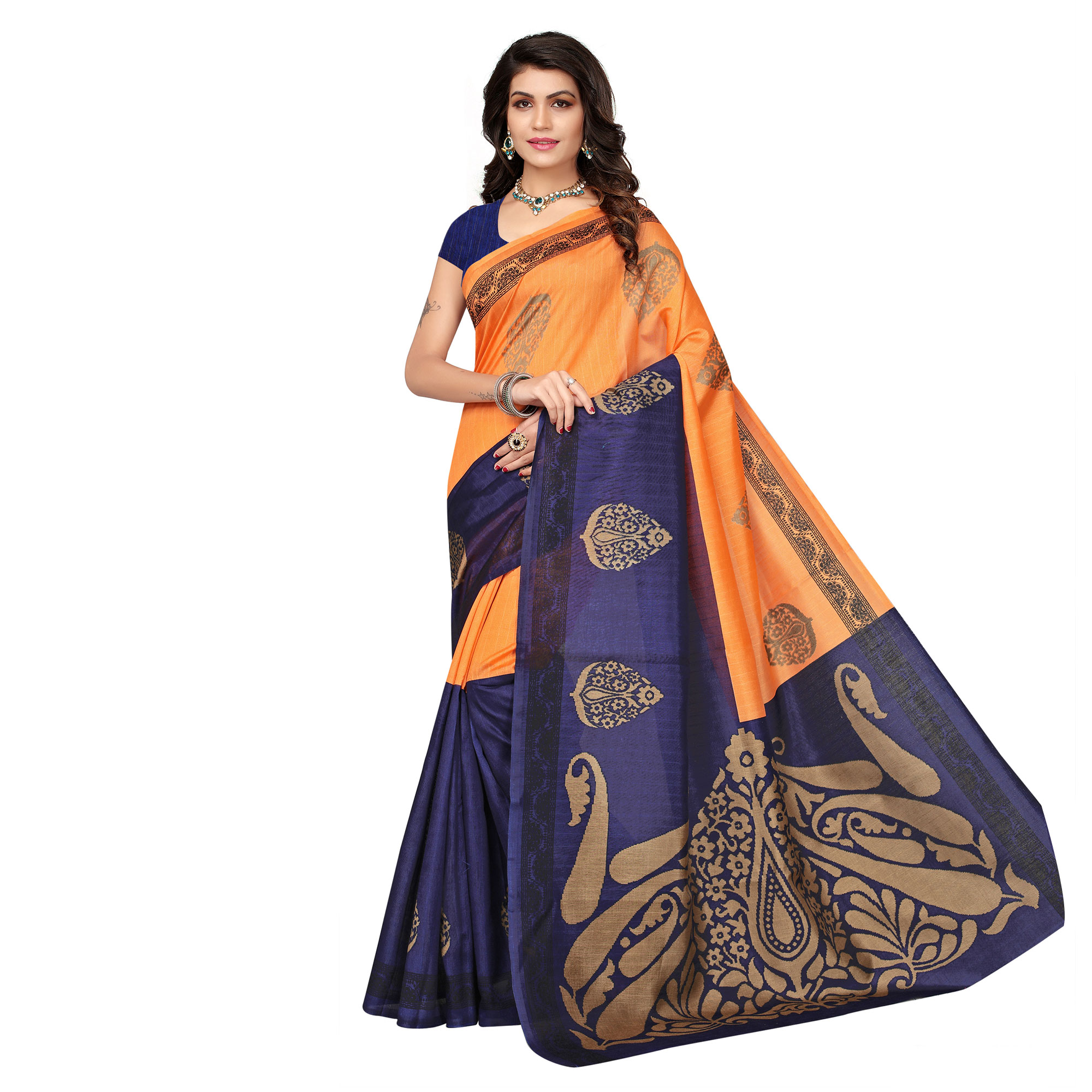 Charming Festive Wear Printed Bhagalpuri Silk Sarees - Pack Of 2