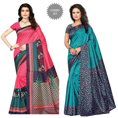 Charming Pink - Turquoise Colored Festive Wear Printed Art Silk Saree Pack of 2