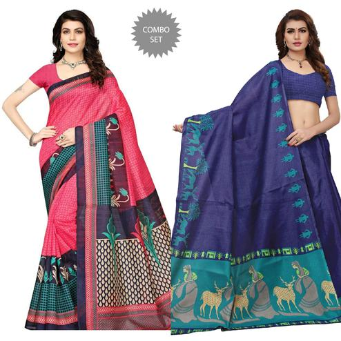Blissful Pink - Navy Blue Colored Festive Wear Printed Art Silk Saree Pack of 2