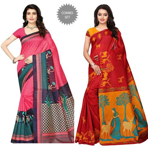 Elegant Pink - Red Colored Festive Wear Printed Art Silk Saree Pack of 2