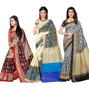 Attractive Festive Wear Printed Bhagalpuri Silk Sarees - Pack Of 3